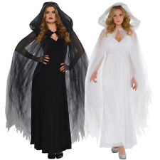 LADIES TEMPTRESS HOODED CAPE HALLOWEEN FANCY DRESS COSTUME OUTFIT GHOST WITCH