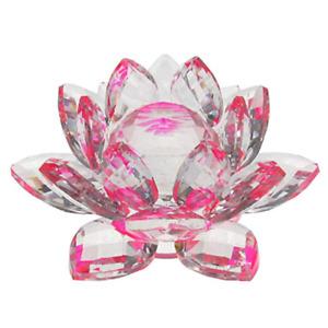 Glas Dekoration Wohnbereich Seerose Kristall transparent rosa