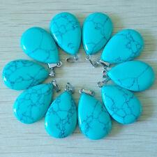 50pcs Wholesale Fashion Water Drop Blue Turquoise Stone Pendants Charms Teardrop