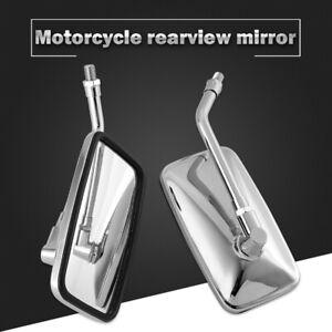 Motorcycle CNC Review Mirrors Chrome 10mm Rectangle for Kawasaki Vulcan 900 800