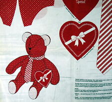 "Valentine Day heart Teddy Bear Fabric Panel Cranston 14"" Cut n Sew"