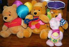 4 Disney's Winnie The Pooh, Birthday Balloons, Pirate, & Piglet Stuffed Animals