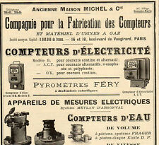 MICHEL & CIE FABRICATION DES COMPTEURS ELECTRIQUE EAU  PUBLICITE 1909 FRENCH AD