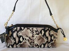 NWT! Brahmin Audrey Black Python Hair Luxe. Croc Embossed  Leather & Real Fur.