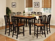 Chelsea 7pc set counter height table w/ 6 non-padded wood chairs black & cherry