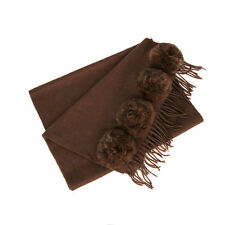 29712 auth FENDI medium brown cashmere & RABBIT FUR Shawl Scarf