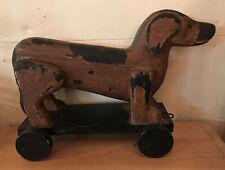 Rare Dachshund Dog Platform Pull Toy On Wheels Primitive 11� X 15�