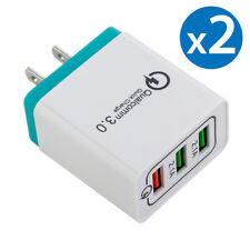 2x 30W 3-Port USB Wall Charger Double Quick 3.0 Ports For iPhone Samsung LG