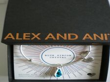 Alex and Ani December Blue Zircon  Bangle Bracelet Teardrop Raf Silver NWTBC