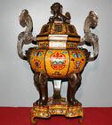 57CM Curio Cloisonne Enamel Bronze bat Pattern RuYi Lion Incense Burner Censer