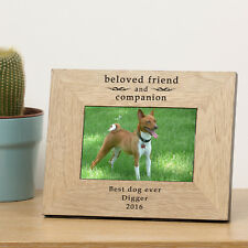 Personalised Laser Engraved Wood Photo Frame Pets Remembrance Gift Portrait Beloved Friend and Companion 7x5