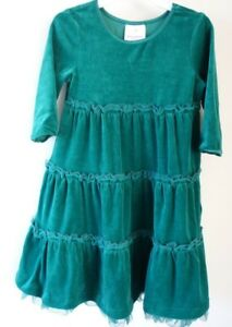 New With Tag Hanna Andersson Deep In The Forest Green Velour Dress Sz 90 / 2-3.5