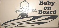 """9"""" Hawaiian Boy Baby on Board Surfing Longboard Vinyl Decal Sticker Black #2"""