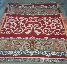 Crown Crafts Woven Knit Tapestry Throw Blanket With Fringes Reversible 47x56