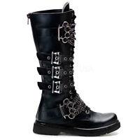 Demonia Mens Gothic Goth Punk Rock Metal Biker Vegan Leather Boots