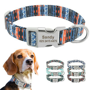 Soft Floral Pet Dog Personalized Collar ID Nameplate Engraved Small Large Dogs