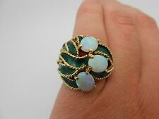 Large Antique Estate 14k Solid Yellow Gold Enamel & Natural Opal Ring Size 6