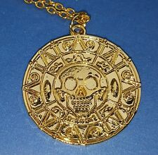 Pirates of the Caribbean Gold Necklace Aztec Skull Medallion Disney Film USA Wow