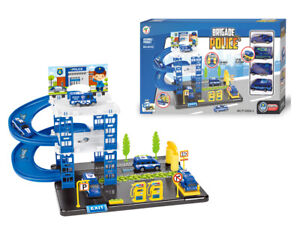 Brigade Police Toy Garage Station Play Set 4 Cars P1205A-3