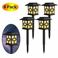 4 Pack Outdoor Garden Warm Light LED Solar Landscape Path Light Yard Lawn Lamp