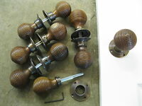Pr of Victorian Edwardian Reproduction Rosewood Beehive Door Knobs & Roses RES8