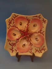 Antique Majolica Oyster Plate Seaweed & Unusual Square Shape, Hand Painted