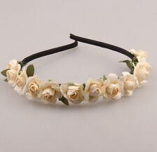 Beige Boho Bride crown rose headband flower Floral hair garland festival wedding