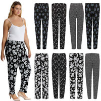 Women Ladies Plus Size Floral Print Elasticated Legging Pants Trouser 16-26