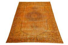 VINTAGE Turkish Area Rug 6'7x9'9 Modern Distressed Wool Carpet Orange Oriental