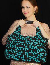 Kate Spade RARE VINTAGE STEVIE Tote Bag CANVAS BROWN TEAL BLUE POLKA DOT handbag