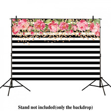 Allenjoy 7x5ft photography backdrops Black and white stripe watercolor pink rose