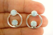 Blue Larimar 2 Stone Circle 925 Sterling Silver Stud Post Earrings