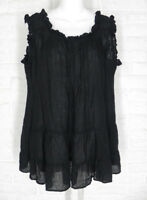 HEARTS DESIRE Lydia Cami Tank Top Tunic Black Linen NWT Small Medium
