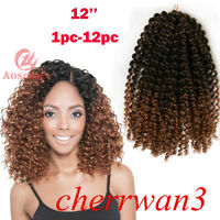 12'' Ombre Afro MALI BOB Synthetic Curly Twist Crochet Braiding Hair Extensions