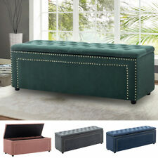 Upholstered Ottoman Window Seat Chesterfield Velvet Bench Bed End Stool Storage