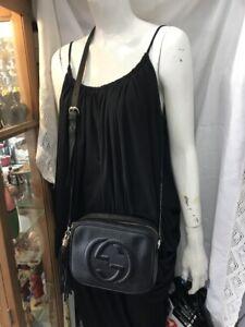Authentic Gucci Soho Disco Black Leather Shoulder CrossBody Bag