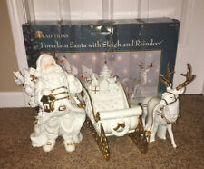 Traditions White And Gold Large Porcelain Santa with Sleigh and Reindeer