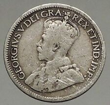 1918 CANADA - Original Antique Silver 10 Cents Coin under King GEORGE V i56841