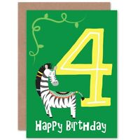 4th Birthday Zebra Blank Greeting Card With Envelope