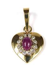 hübscher Herzanhänger - mit Rubinen + Brillanten besetzt - 585er Gold 14K