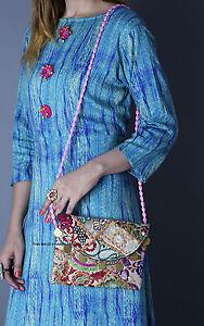 Ethnic Handmade Embroidered Wristlet Clutch Bag Vintage Purse Bohemian Hand Bag