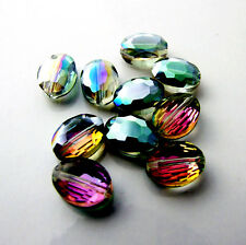 10pcs 9x12 Faceted Oblong Finding Cut Glass Crystal Loose Spacer Oval Beads B134