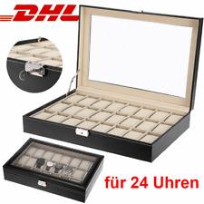 Uhrenbox für 24 Uhren Uhrenkoffer Uhrentruhe Uhrenschatulle Leder Uhrenkasten DE