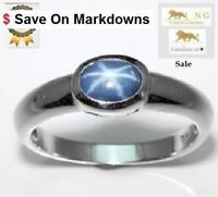 1.2 ct BLUE STAR SAPPHIRE SILVER RING
