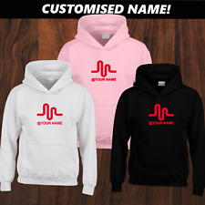 Kids Personalised Musical.ly (Musically) Hoodie Sizes XSmall-XL Black White Pink