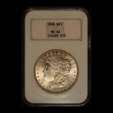 "1898 $1 Morgan Silver Dollar NGC MS64 ""Fatty Holder"" - Free Shipping USA"