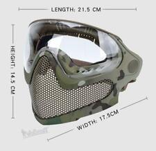 Tactical Steel Mesh Full Face Mask Lens Paintball Head-mounted / Helmet Type
