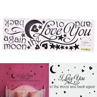 I Love You To The Moon And Back Decals Lettering Words Wall Stickers Home Decors