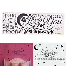 I Love You To The Moon And Back Decal Lettering Words Wall Sticker Home Decor M&