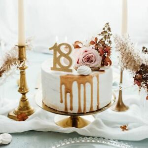 18th Birthday Cake Candle | Gold Glitter Party Number Decoration